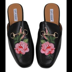 Shoes - Black  Floral Embroidered Slip on Mules